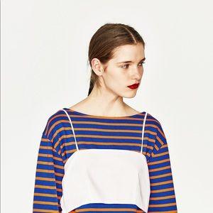 Zara Tops - Zara Contrasting Poplin Crop Top White Tie Back